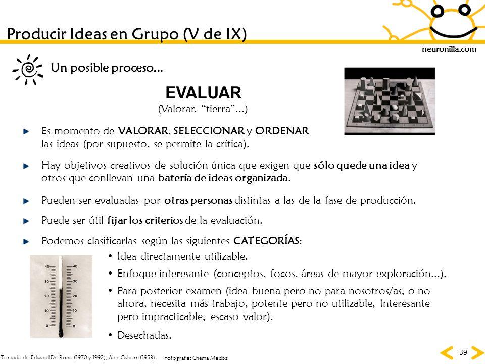 Producir Ideas en Grupo (V de IX)
