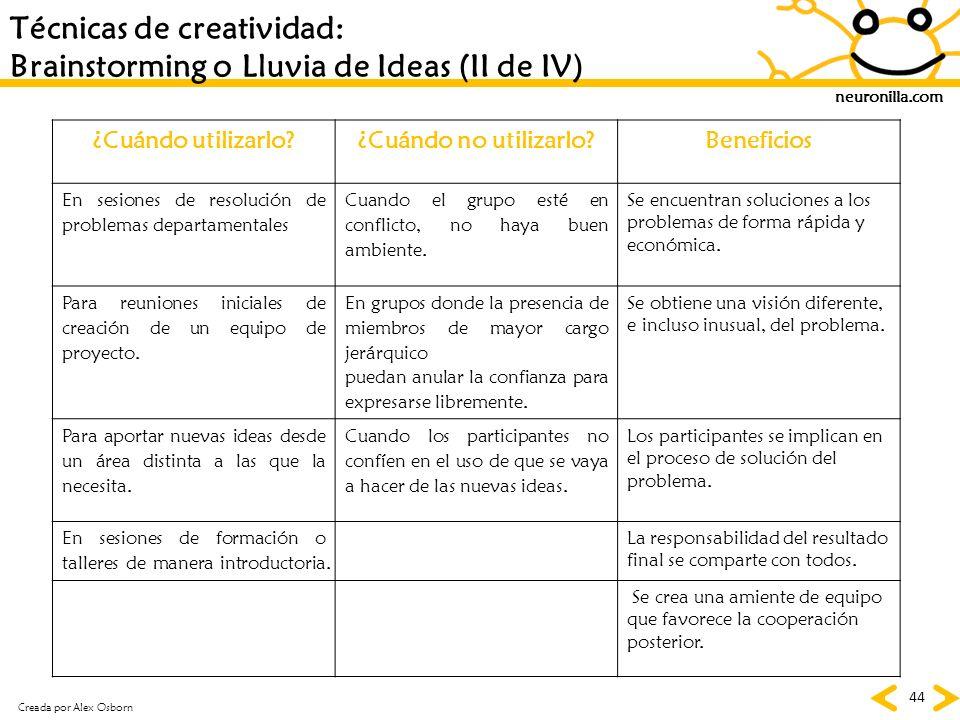 Técnicas de creatividad: Brainstorming o Lluvia de Ideas (II de IV)