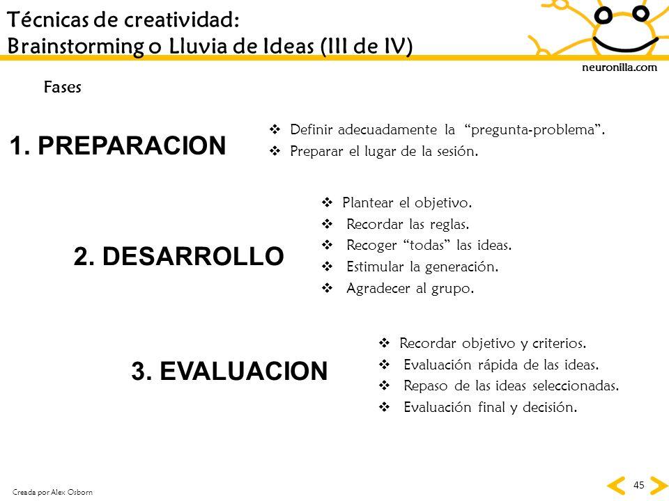 1. PREPARACION 2. DESARROLLO 3. EVALUACION