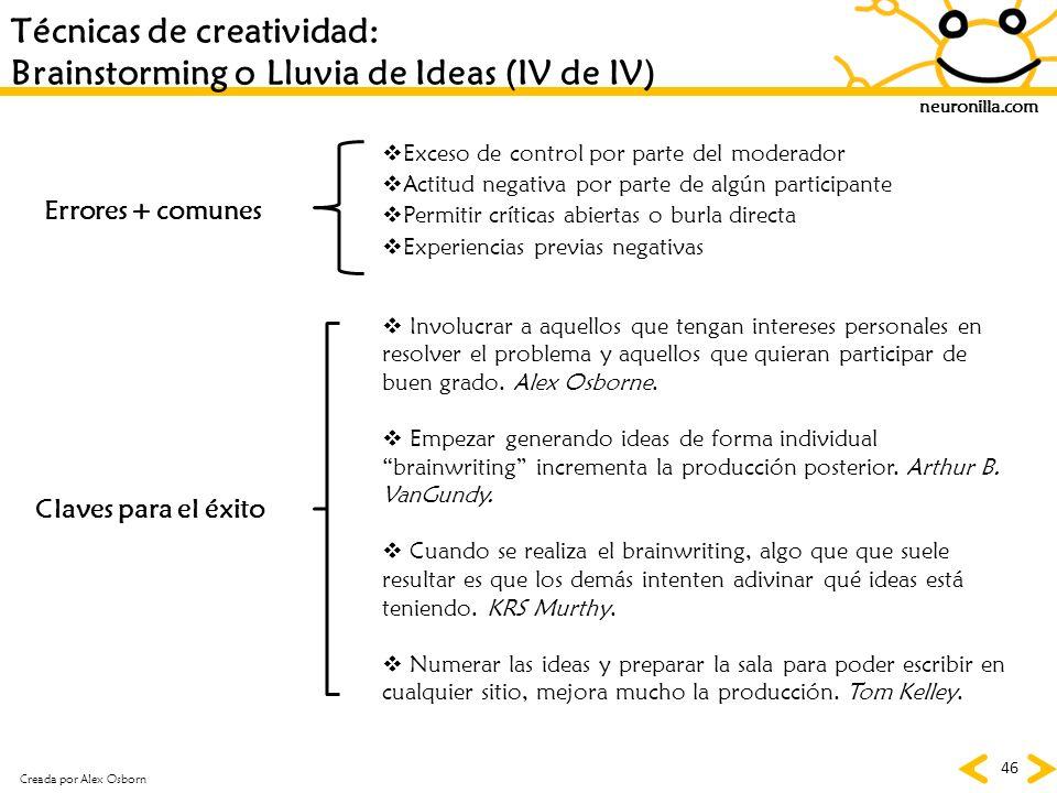 Técnicas de creatividad: Brainstorming o Lluvia de Ideas (IV de IV)