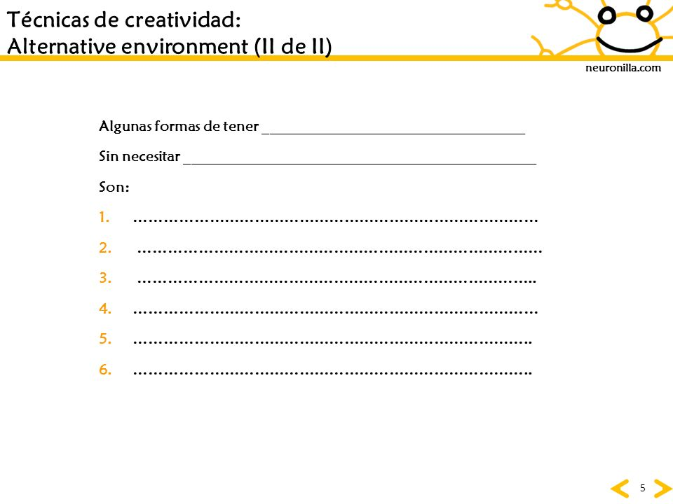 Técnicas de creatividad: Alternative environment (II de II)