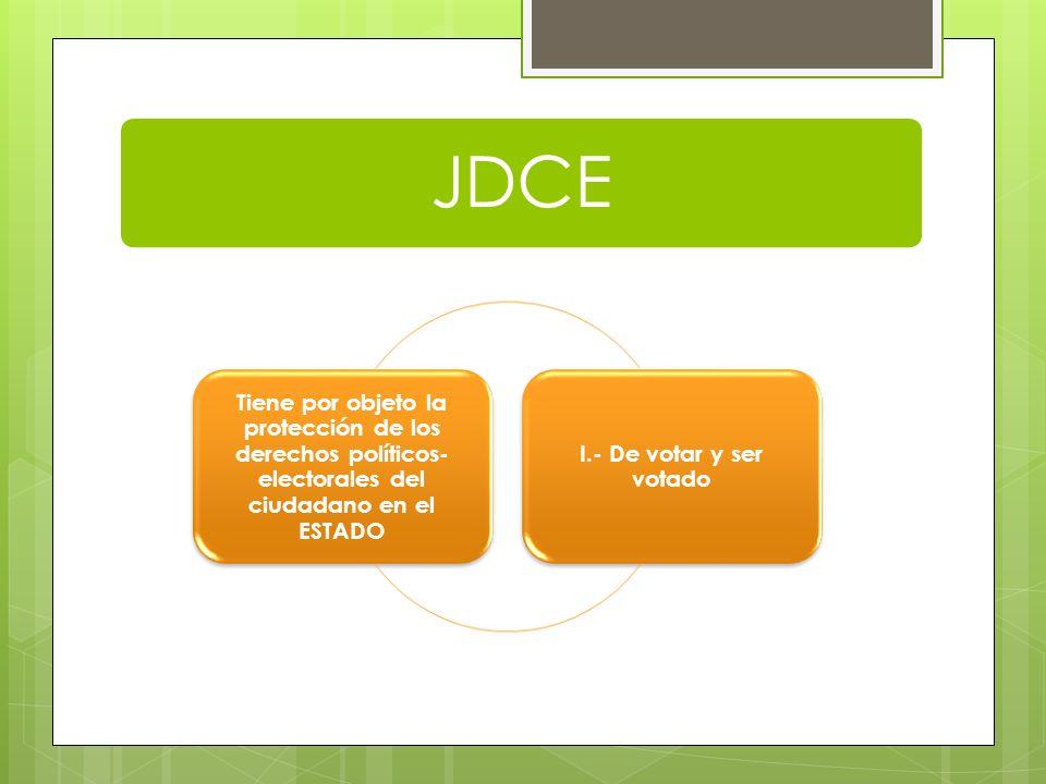 JDCE Tiene por objeto la protección de los derechos políticos-electorales del ciudadano en el ESTADO.
