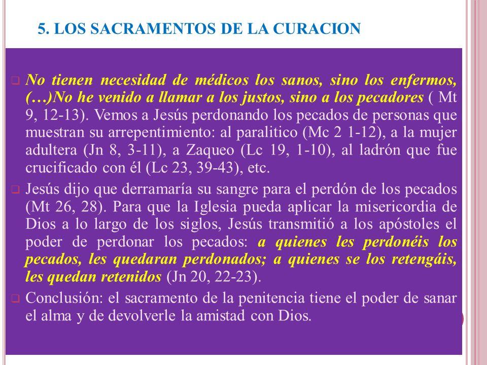 5. LOS SACRAMENTOS DE LA CURACION