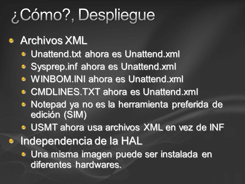 ¿Cómo , Despliegue Archivos XML Independencia de la HAL