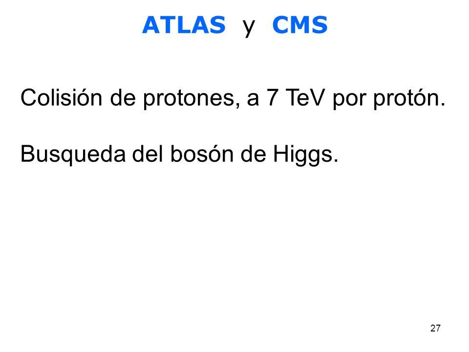 ATLAS y CMS Colisión de protones, a 7 TeV por protón. Busqueda del bosón de Higgs.