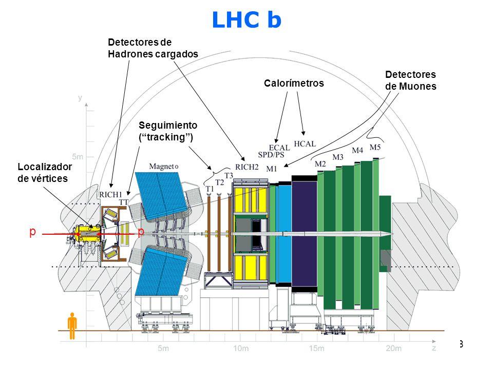 LHC b p Detectores de Hadrones cargados Detectores de Muones