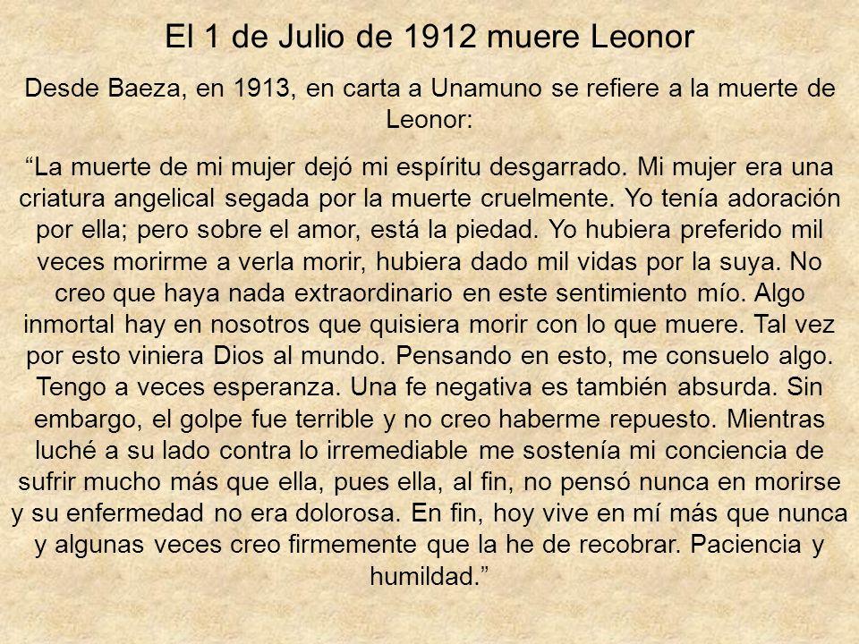El 1 de Julio de 1912 muere Leonor