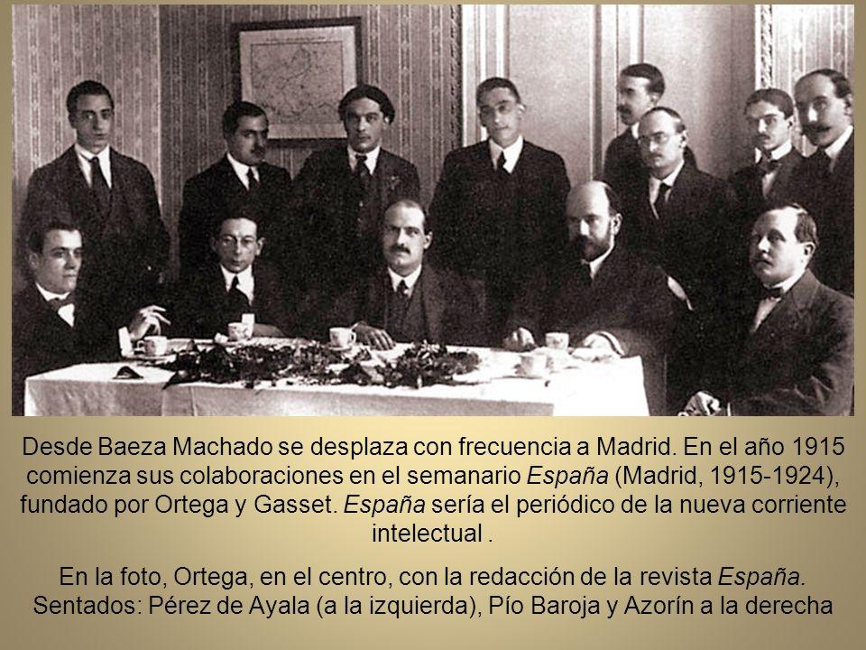 En este año comienza sus colaboraciones en el semanario España (Madrid, 1915-1924), fundado por Ortega y Gasset. España sería el periódico de la nueva corriente intelectual