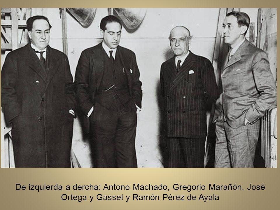 De izquierda a dercha: Antono Machado, Gregorio Marañón, José Ortega y Gasset y Ramón Pérez de Ayala