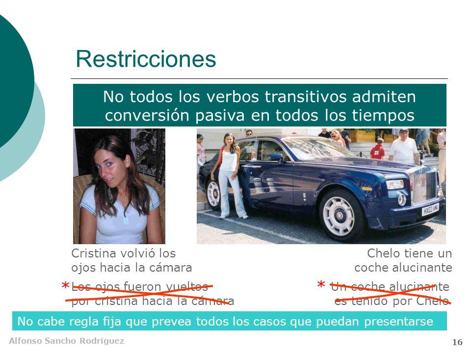 Restricciones No todos los verbos transitivos admiten conversión pasiva en todos los tiempos. Cristina volvió los ojos hacia la cámara.
