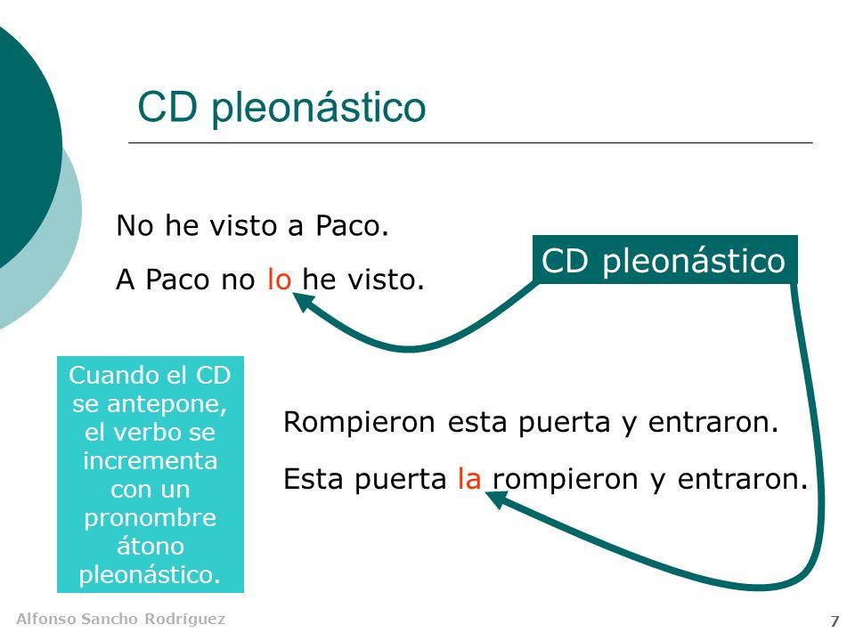 CD pleonástico CD pleonástico No he visto a Paco.