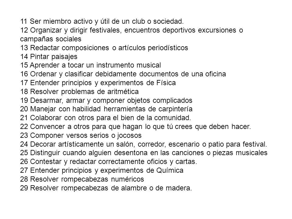 11 Ser miembro activo y útil de un club o sociedad.
