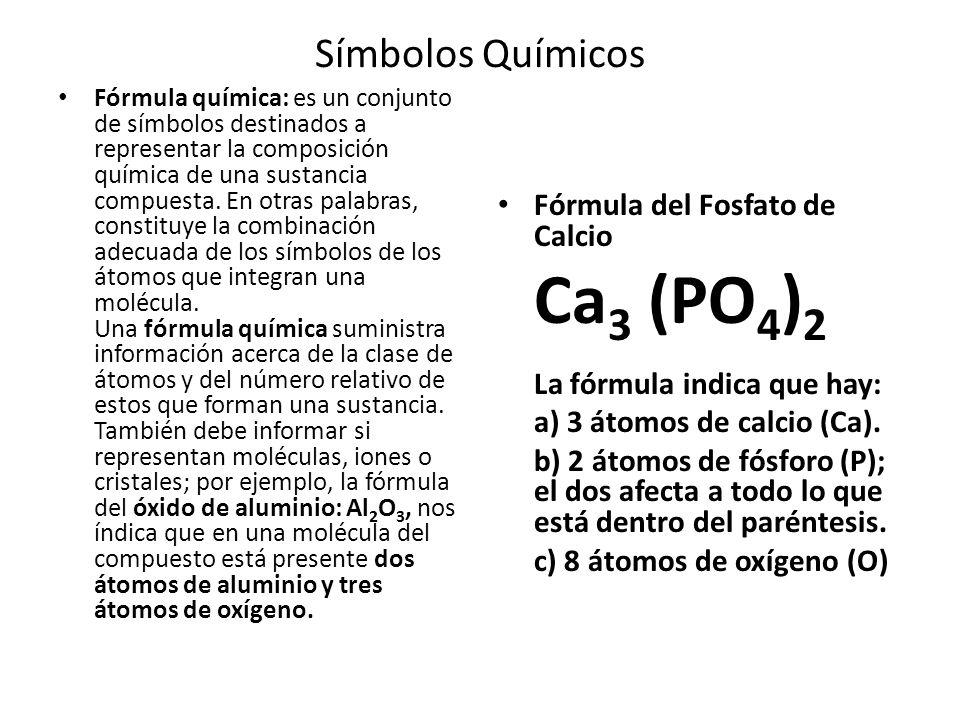 Símbolos Químicos Fórmula del Fosfato de Calcio