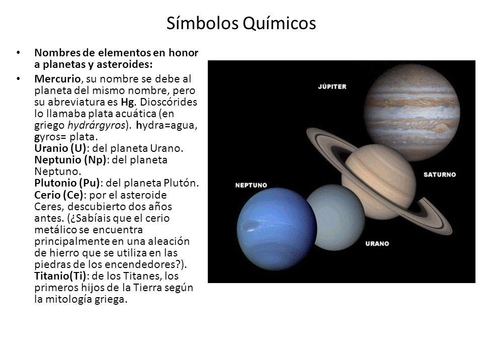 Símbolos Químicos Nombres de elementos en honor a planetas y asteroides: