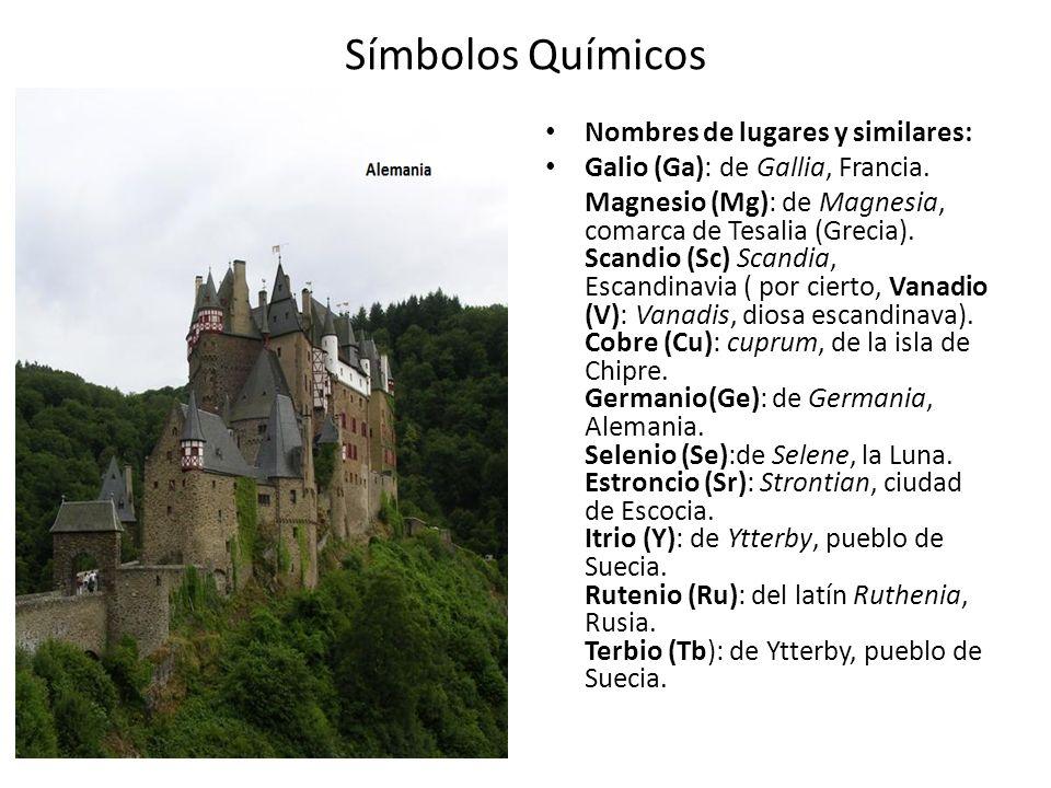 Símbolos Químicos Nombres de lugares y similares: