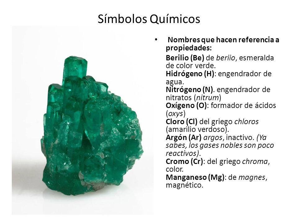 Símbolos Químicos Nombres que hacen referencia a propiedades: