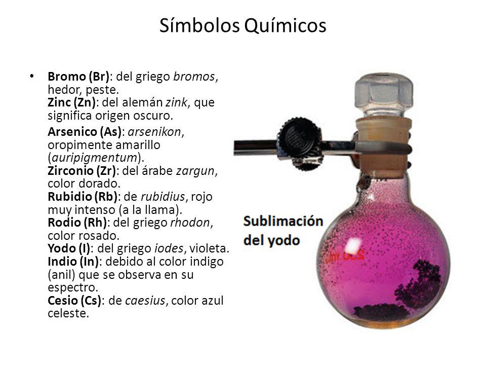 Símbolos Químicos Bromo (Br): del griego bromos, hedor, peste. Zinc (Zn): del alemán zink, que significa origen oscuro.