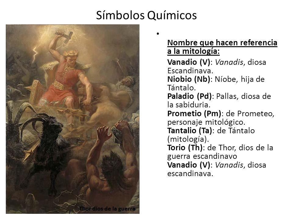 Símbolos Químicos Nombre que hacen referencia a la mitología: