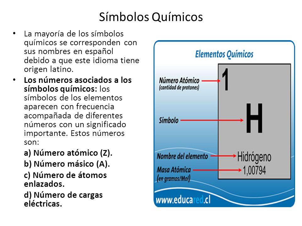 Símbolos Químicos La mayoría de los símbolos químicos se corresponden con sus nombres en español debido a que este idioma tiene origen latino.