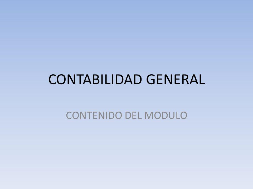 CONTABILIDAD GENERAL CONTENIDO DEL MODULO