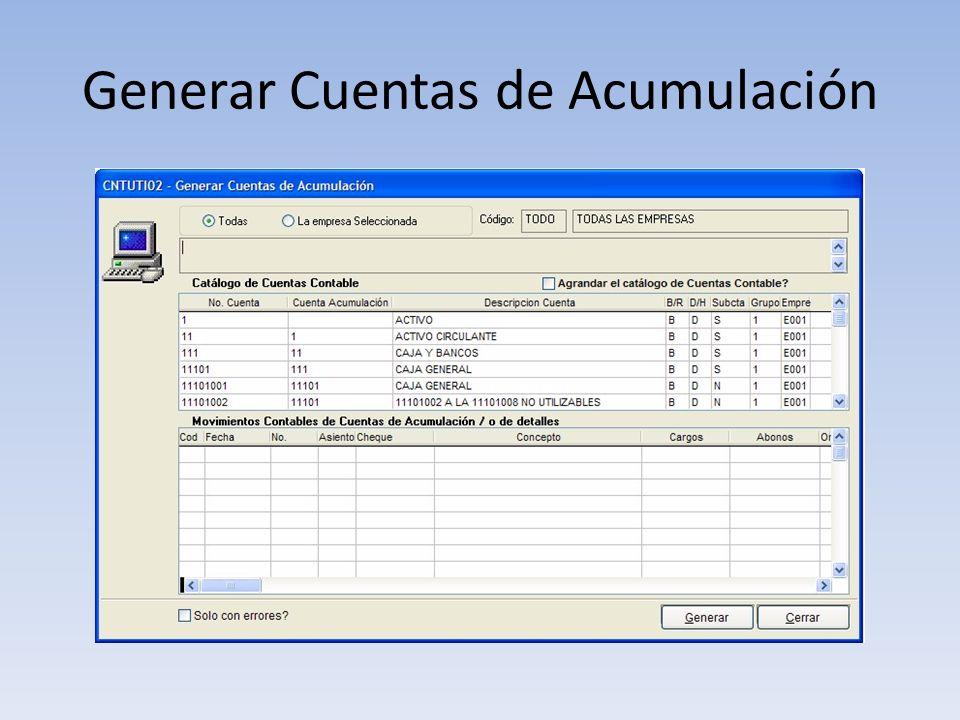 Generar Cuentas de Acumulación