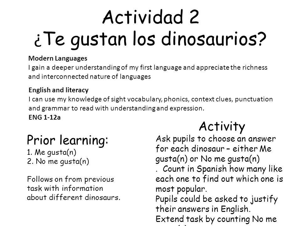 Actividad 2 ¿Te gustan los dinosaurios