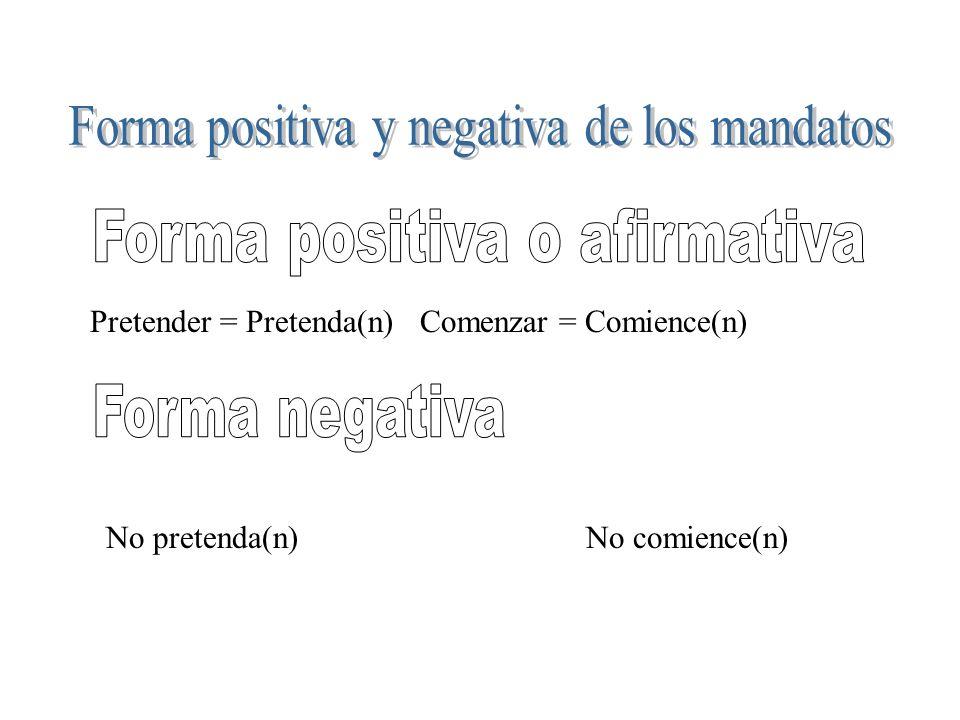 Forma positiva y negativa de los mandatos