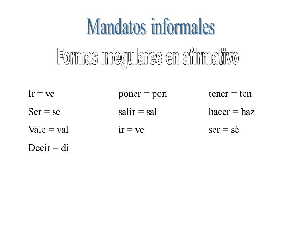Formas irregulares en afirmativo
