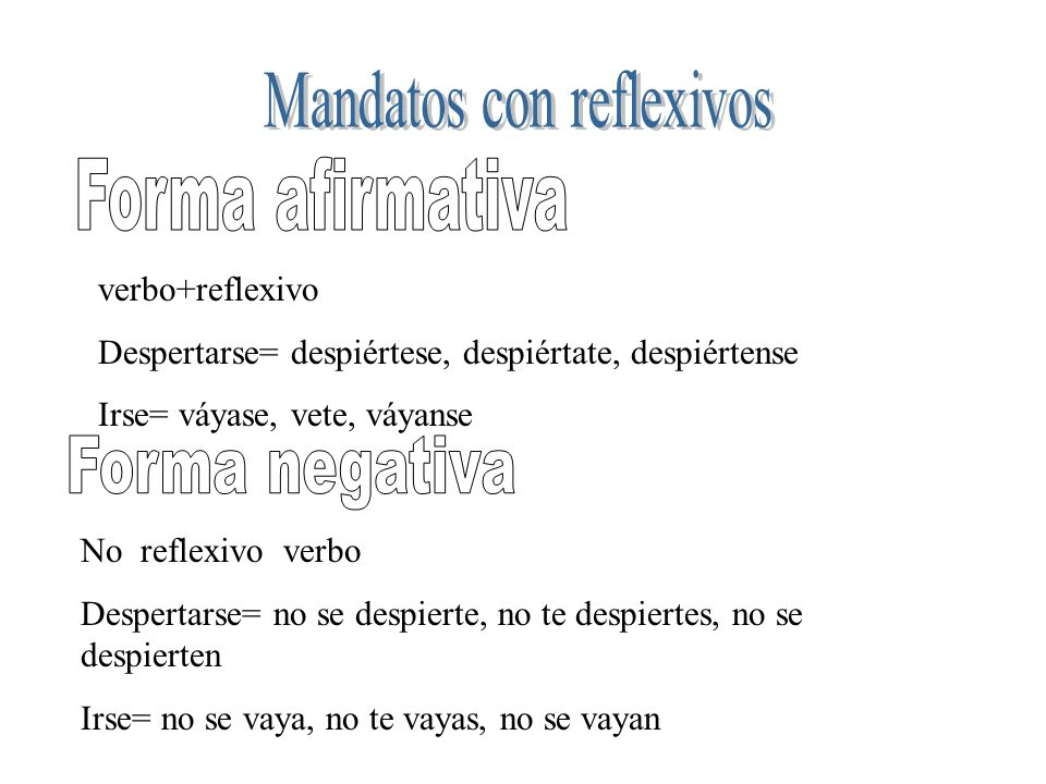 Mandatos con reflexivos