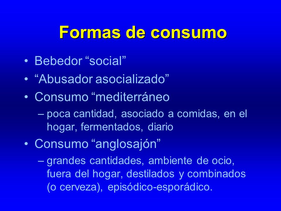 Formas de consumo Bebedor social Abusador asocializado