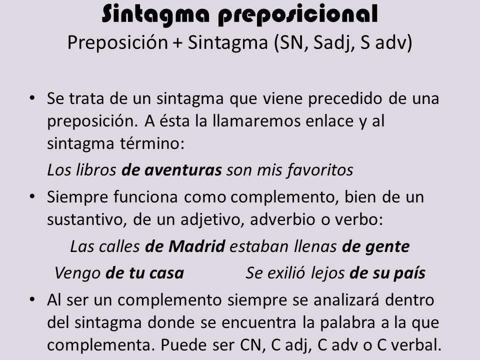 Sintagma preposicional Preposición + Sintagma (SN, Sadj, S adv)