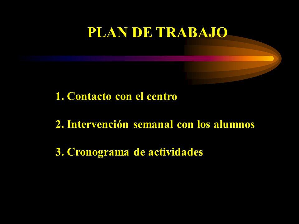 PLAN DE TRABAJO 1. Contacto con el centro