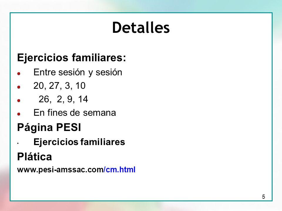 Detalles Ejercicios familiares: Página PESI Plática