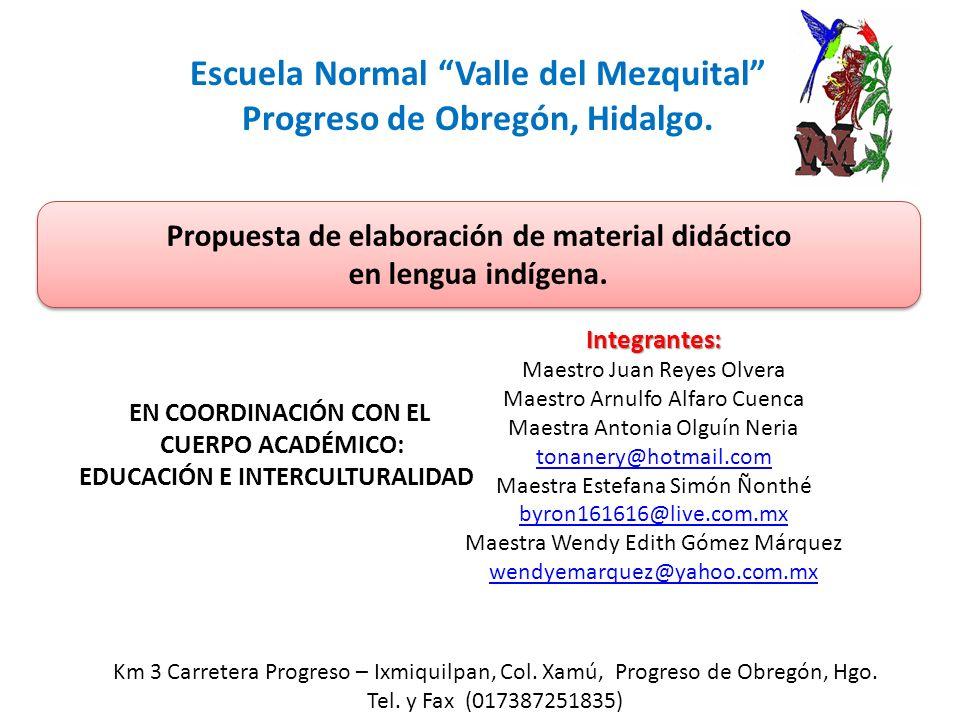 Escuela Normal Valle del Mezquital Progreso de Obregón, Hidalgo.