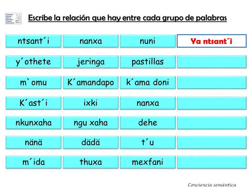Escribe la relación que hay entre cada grupo de palabras