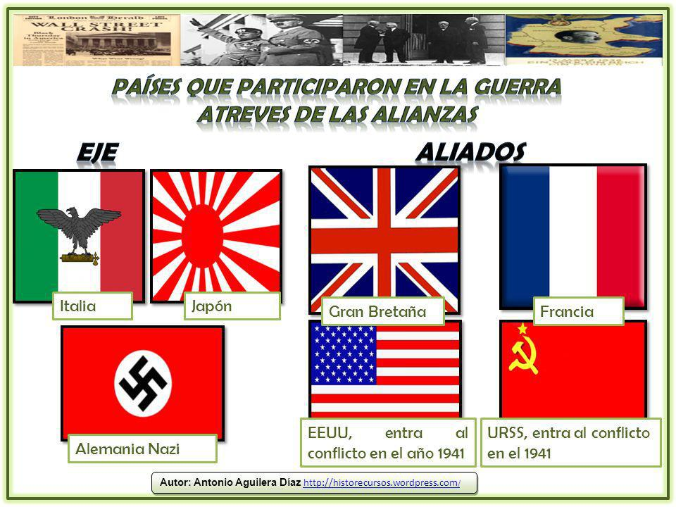 Países que participaron en la Guerra atreves de las alianzas