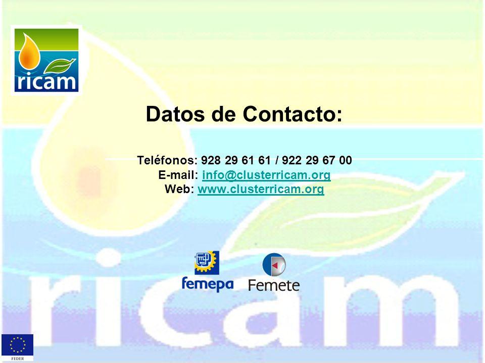 Datos de Contacto: Teléfonos: 928 29 61 61 / 922 29 67 00 E-mail: info@clusterricam.org Web: www.clusterricam.org