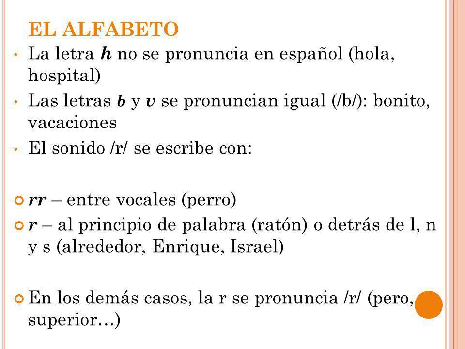 EL ALFABETO La letra h no se pronuncia en español (hola, hospital)