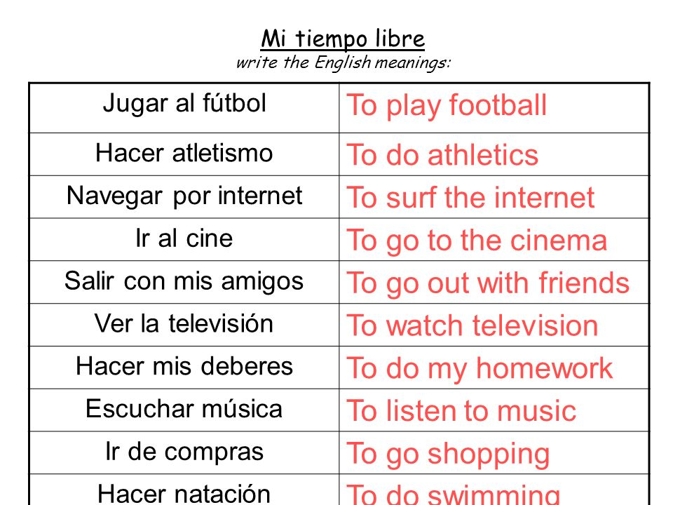 Mi tiempo libre write the English meanings: