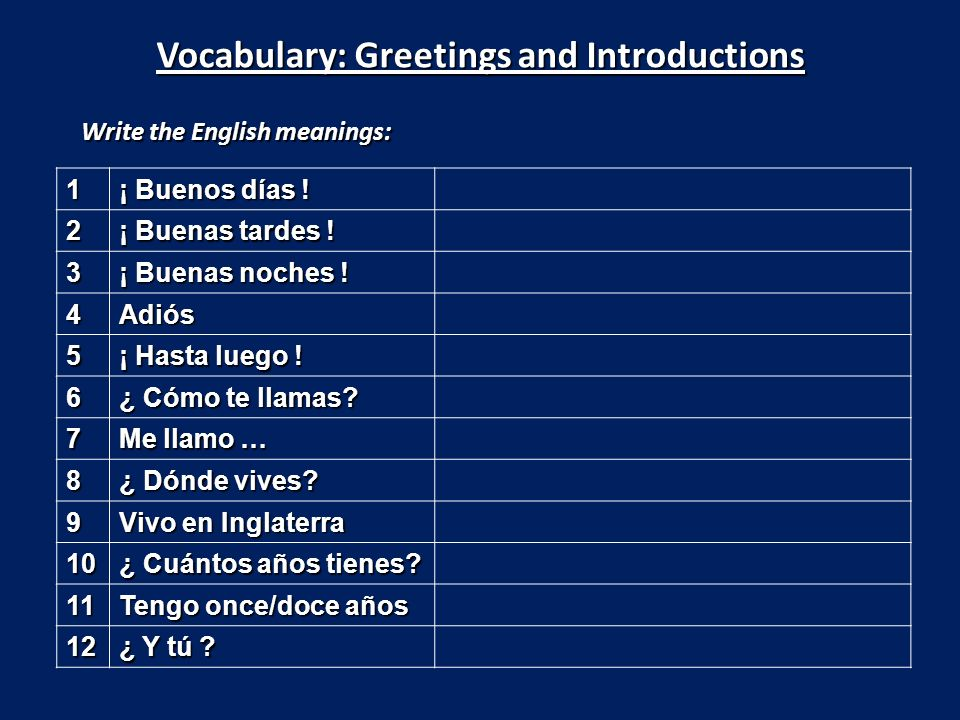 Vocabulary: Greetings and Introductions