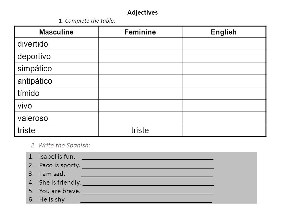 Adjectives 1. Complete the table:………………………………………………………………….