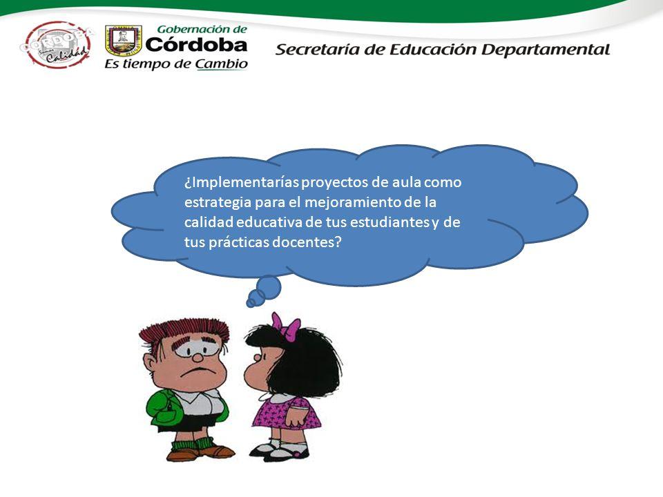 ¿Implementarías proyectos de aula como estrategia para el mejoramiento de la calidad educativa de tus estudiantes y de tus prácticas docentes
