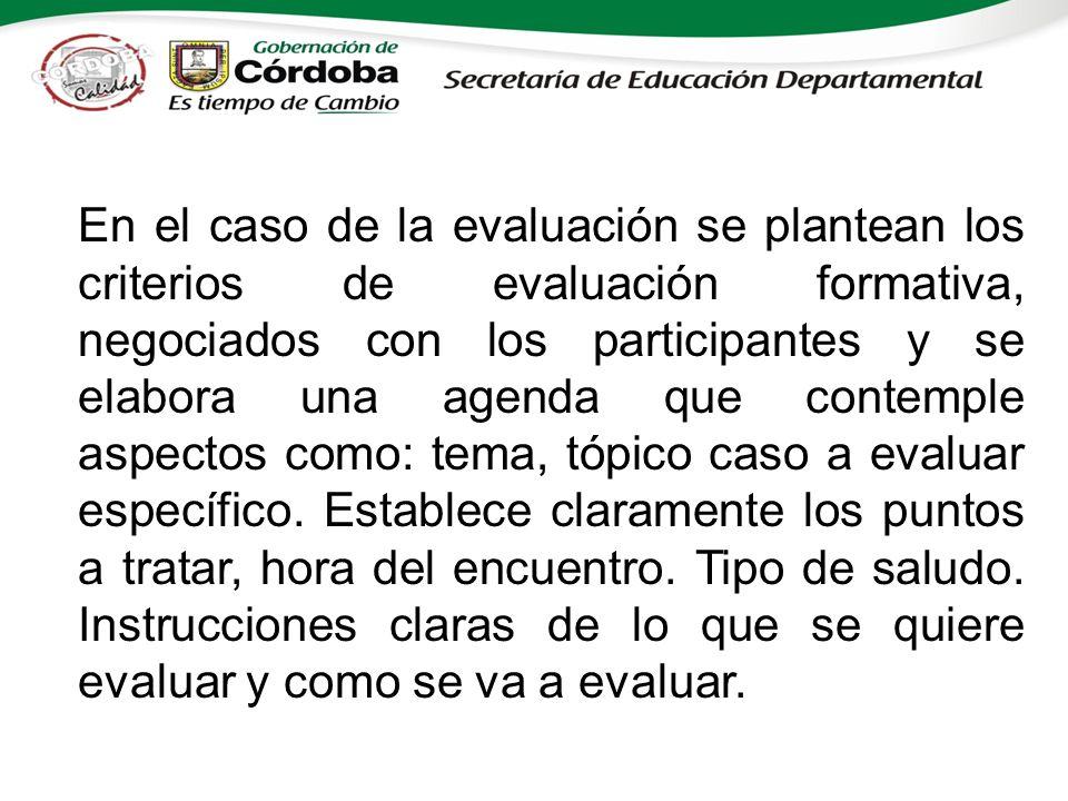 En el caso de la evaluación se plantean los criterios de evaluación formativa, negociados con los participantes y se elabora una agenda que contemple aspectos como: tema, tópico caso a evaluar específico.