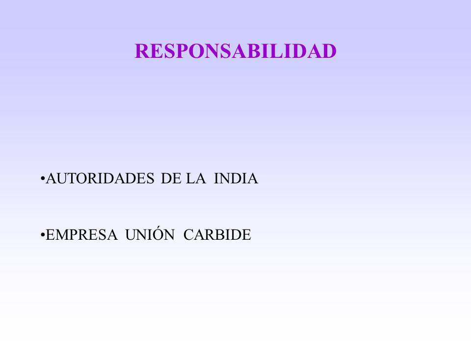 RESPONSABILIDAD AUTORIDADES DE LA INDIA EMPRESA UNIÓN CARBIDE