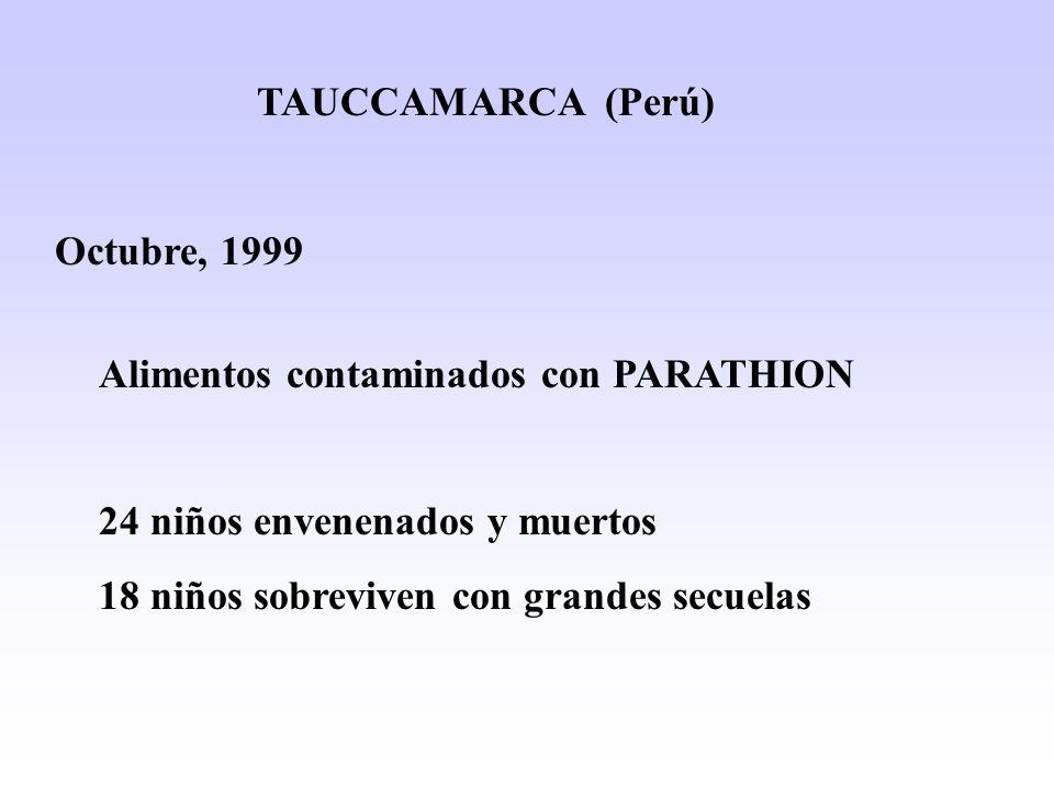 TAUCCAMARCA (Perú) Octubre, 1999. Alimentos contaminados con PARATHION. 24 niños envenenados y muertos.