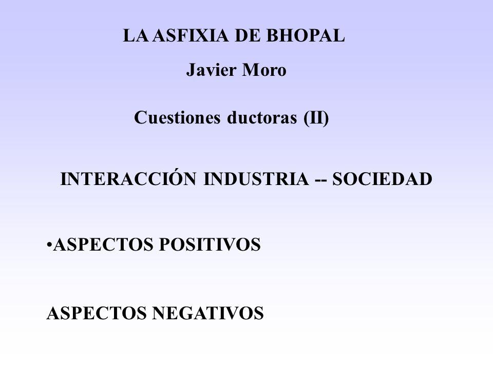 Cuestiones ductoras (II) INTERACCIÓN INDUSTRIA -- SOCIEDAD