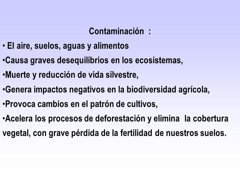 Contaminación : El aire, suelos, aguas y alimentos. Causa graves desequilibrios en los ecosistemas,