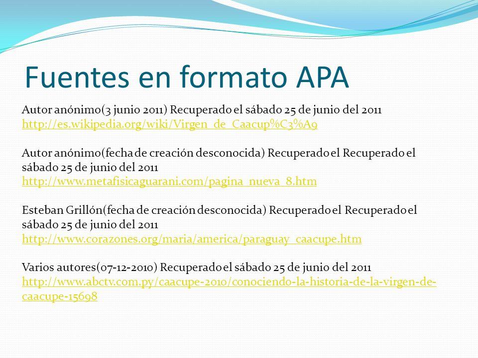 Fuentes en formato APA Autor anónimo(3 junio 2011) Recuperado el sábado 25 de junio del 2011. http://es.wikipedia.org/wiki/Virgen_de_Caacup%C3%A9.