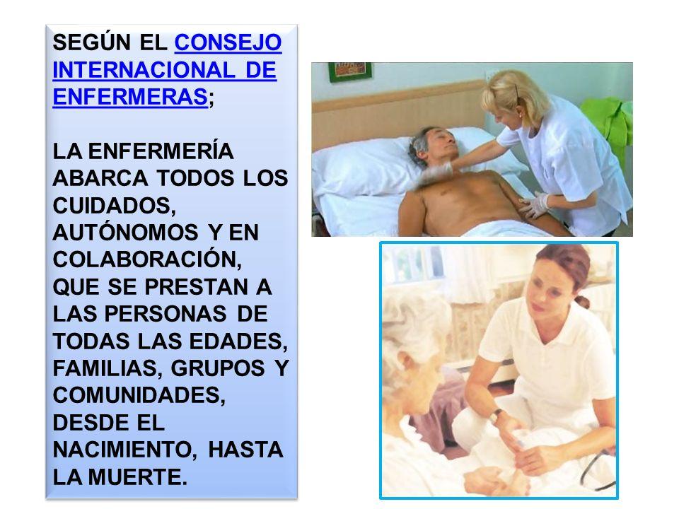 SEGÚN EL CONSEJO INTERNACIONAL DE ENFERMERAS;