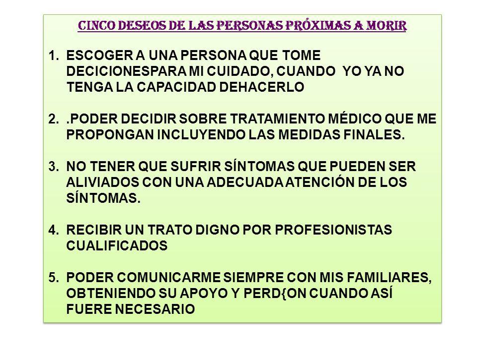 CINCO DESEOS DE LAS PERSONAS PRÓXIMAS A MORIR